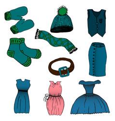 cartoon set of clothes vector image vector image