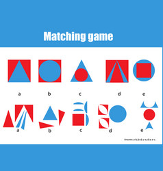 educational children game matching game worksheet vector image