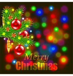 Merry Christmas and fir-tree branch vector image vector image