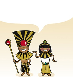 Egyptian cartoon couple bubble dialogue vector image