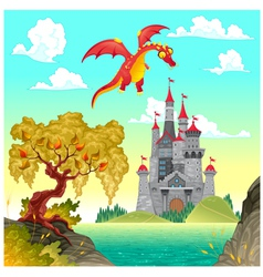 Fantasy landscape with castle and dragon vector image