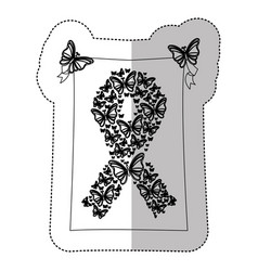 figure breast cancer butterflys icon vector image
