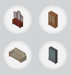 Isometric furnishing set of couch drawer cabinet vector