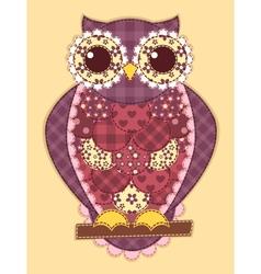 Purple patchwork owl vector image vector image