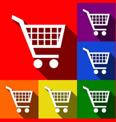 shopping cart sign set of icons with flat vector image