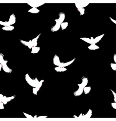 Birds silhouettes - flying seamless pattern Dove vector image