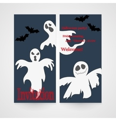 Card with hand drawn doodle ghosts Invitation for vector image vector image