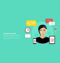 customer service banner vector image vector image