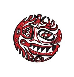 Decorative floral face design vector image
