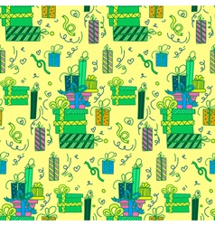 Happy Birthday Seamless Pattern with Presents vector image vector image
