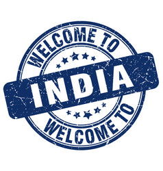Welcome to india blue round vintage stamp vector