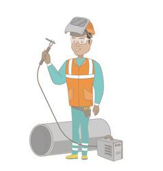 young hispanic welder using gas welding machine vector image vector image