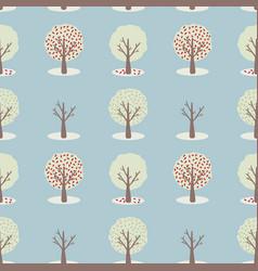 4 seasons tree set seamless repeat pattern vector image