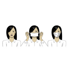 a beautiful asian woman wears a protective medical vector image