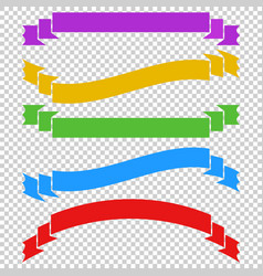 A set of colored long ribbon banners with space vector