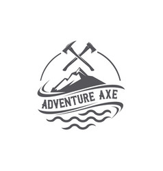 adventure axe emblem logo vector image
