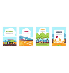 Agricultural poster cartoon booklet with farmland vector