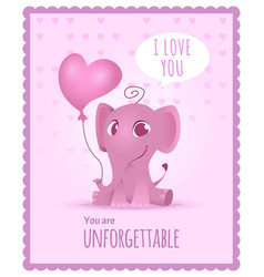 baby elephant poster kids invitation with picture vector image