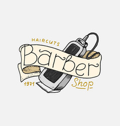 barbershop badge label logo shaving machine vector image