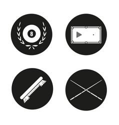 billiard equipment icons set vector image