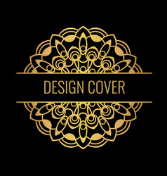 black cover with gold beautiful flower golden vector image