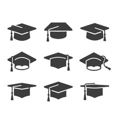 Black graduation cap icon set vector