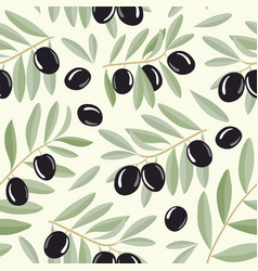 black olive branches seamless pattern vector image