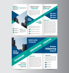 Blue green trifold Leaflet brochure flyer template vector