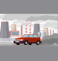 car air pollution co2 emissions vehicles vector image