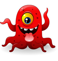 Cartoon funny red monster vector