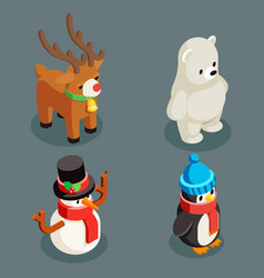 christmas animals isometric polar white bear vector image