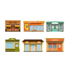 City buildings facades collection cafe vector