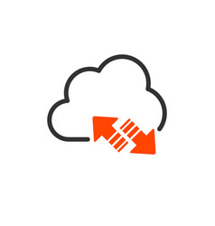 cloud upload and download or sync linear icon vector image