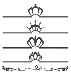 Collection of vintage text headers with crowns vector image