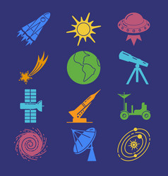 Colorful space silhouette icons set in flat style vector