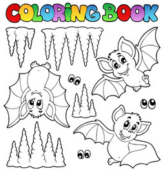 Coloring book with bats vector