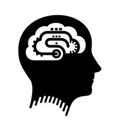 conveyor as brain in head simple shape for logo vector image