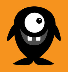 cute black silhouette monster icon happy vector image