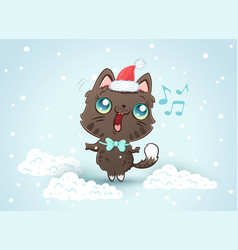 Cute cat in christmas hat vector