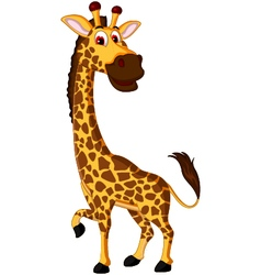 Cute giraffe cartoon for you design vector image