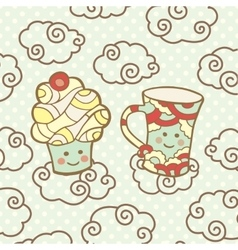 Cute smiling cupcake and cup on clouds vector image