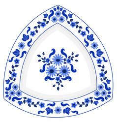Decorative triangular porcelain plate ornate vector