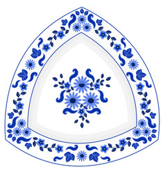 Decorative triangular porcelain plate ornate with vector