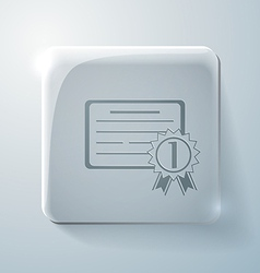 Diploma for the first place Glass square icon vector