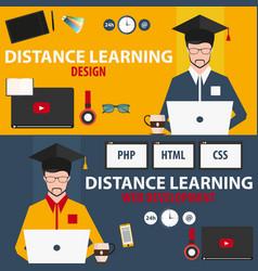 distance learning set online education design vector image