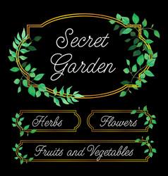 elegant garden labels vector image