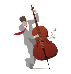 Elegant man playing double bass isolated on white vector