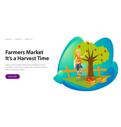 farmers market its harvesting time banner vector image
