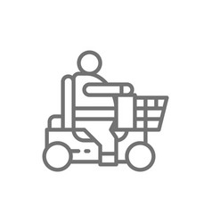 fat man sitting in wheelchair disabled carriage vector image