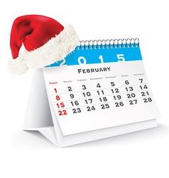 February 2015 desk calendar with Christmas hat vector